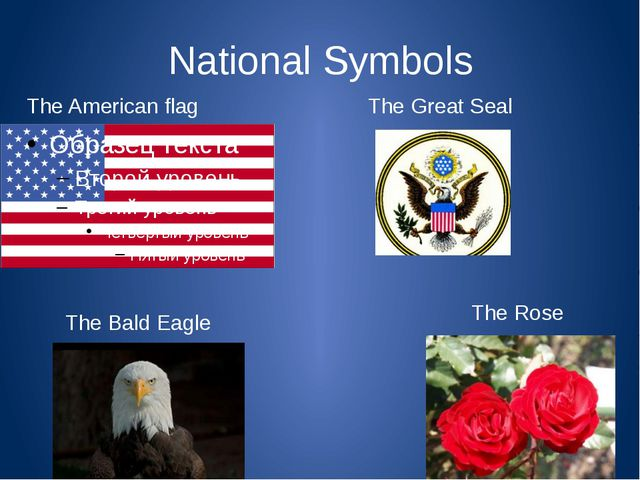 National Symbols The American flag The Great Seal The Bald Eagle The Rose