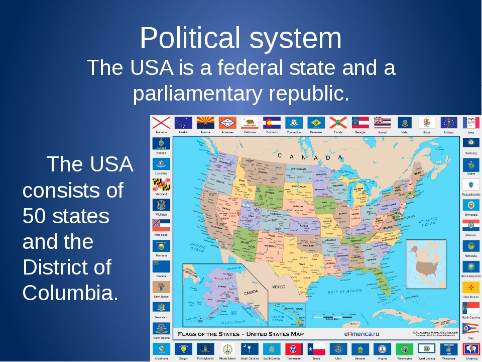 Political system The USA is a federal state and a parliamentary republic....