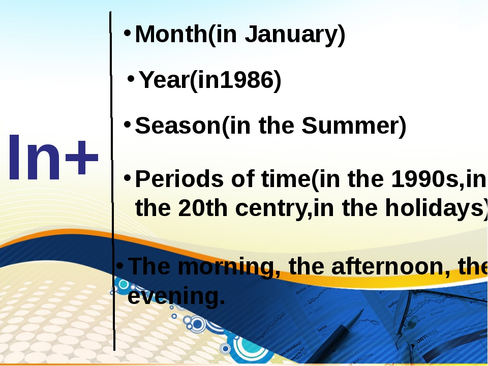 In+ Month(in January) Year(in1986) Season(in the Summer) Periods of time(in t...