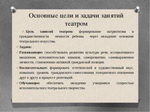 Основные цели и задачи занятий театром Цель занятий театром: формирование пат