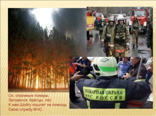 Ох, огромные пожары, Загорелся, братцы, лес. К нам Шойгу пошлет на помощь Св