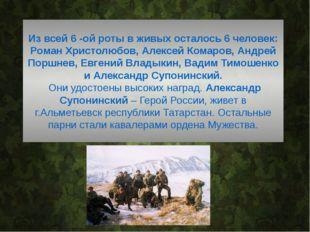 Из всей 6 -ой роты в живых осталось 6 человек: Роман Христолюбов, Алексей Ко