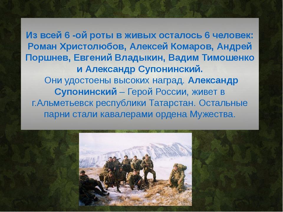 Из всей 6 -ой роты в живых осталось 6 человек: Роман Христолюбов, Алексей Ко...