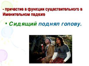 - причастие в функции существительного в Именительном падеже Сидящий поднял г