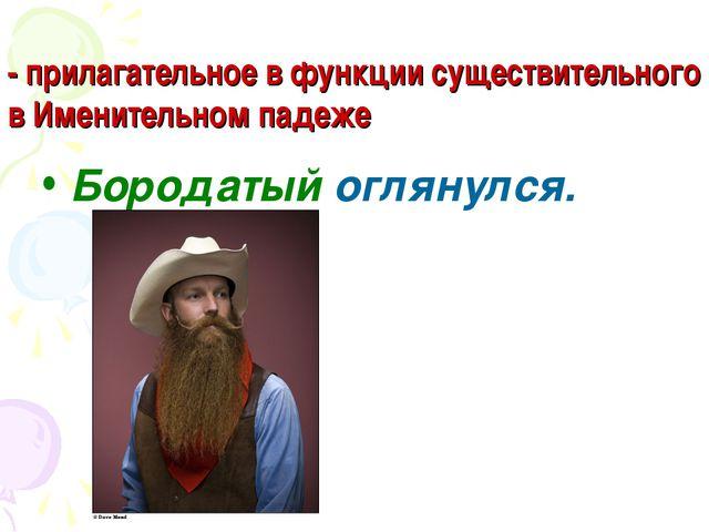 - прилагательное в функции существительного в Именительном падеже Бородатый о...