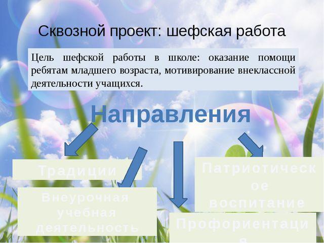 Сквозной проект: шефская работа Цель шефской работы в школе: оказание помощи...