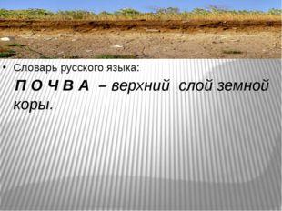 Словарь русского языка: П О Ч В А – верхний слой земной коры.