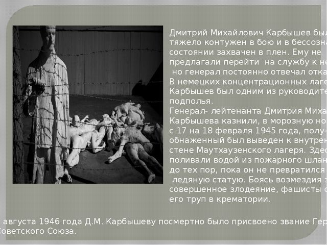Дмитрий Михайлович Карбышев был тяжело контужен в бою и в бессознательном сос...