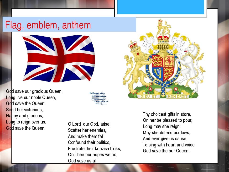 Flag, emblem, anthem