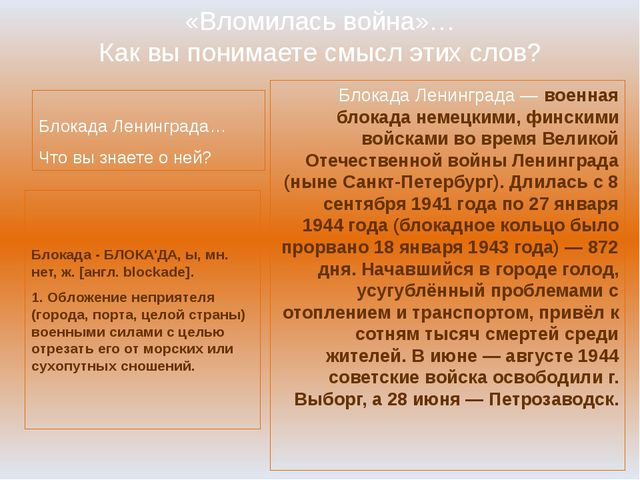 «Вломилась война»… Как вы понимаете смысл этих слов? Блокада Ленинграда… Что...