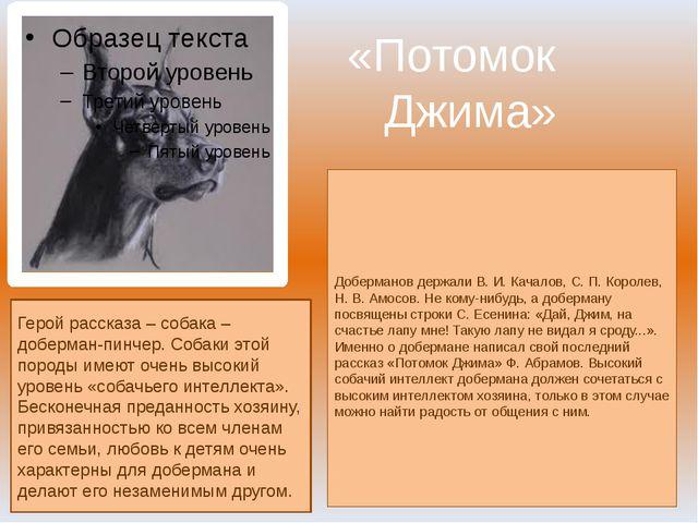«Потомок Джима» Доберманов держали В. И. Качалов, С. П. Королев, Н. В. Амосов...