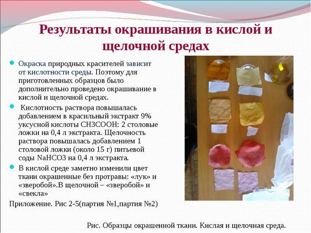 Результаты окрашивания в кислой и щелочной средах Окраска природных красителе...