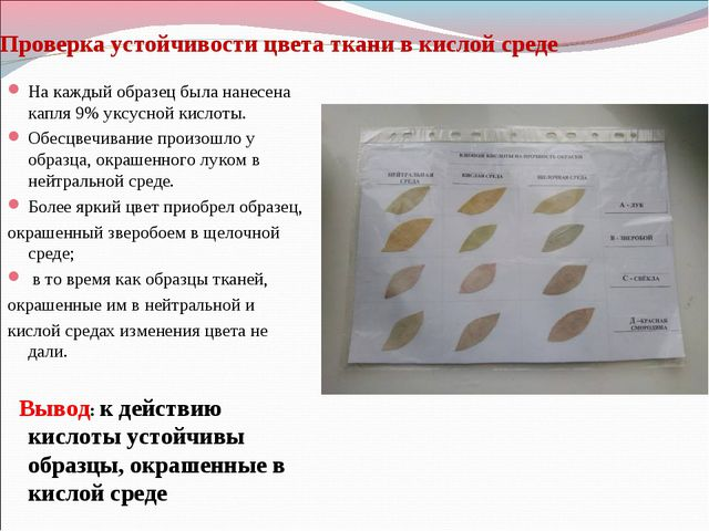 Проверка устойчивости цвета ткани в кислой среде На каждый образец была нанес...