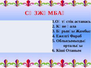 СӨЗЖҰМБАҚ 1.Оңтүстік астанасы 2. Көне қала 3. Бұрынғы Жамбыл 4. Ежелгі Фараб