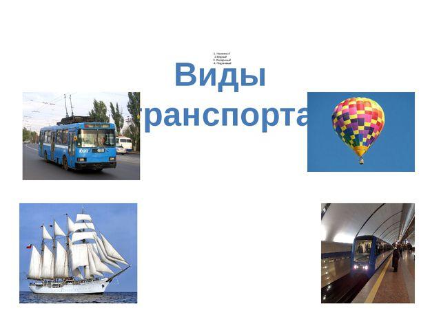 1. Наземный 2.Водный 3. Воздушный 4. Подземный Виды транспорта