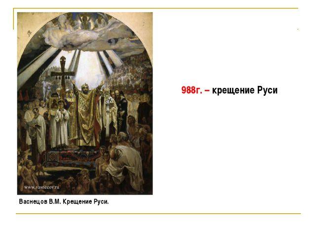 Васнецов В.М. Крещение Руси. 988г. – крещение Руси