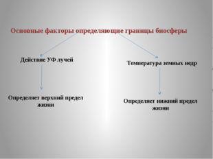 Основные факторы определяющие границы биосферы Действие УФ лучей Температура