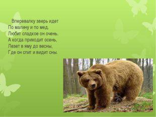 Вперевалку зверь идет По малину и по мед. Любит сладкое он очень. А когда пр