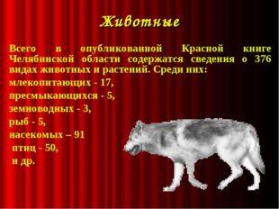 Животные Всего в опубликованной Красной книге Челябинской области содержатся