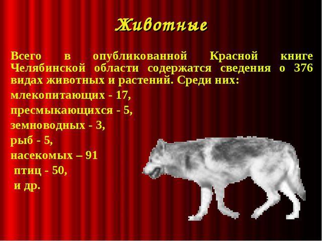 Животные Всего в опубликованной Красной книге Челябинской области содержатся...
