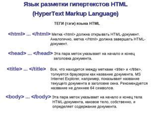 Язык разметки гипертекстов HTML (HyperText Markup Language)  ...  Метка  долж