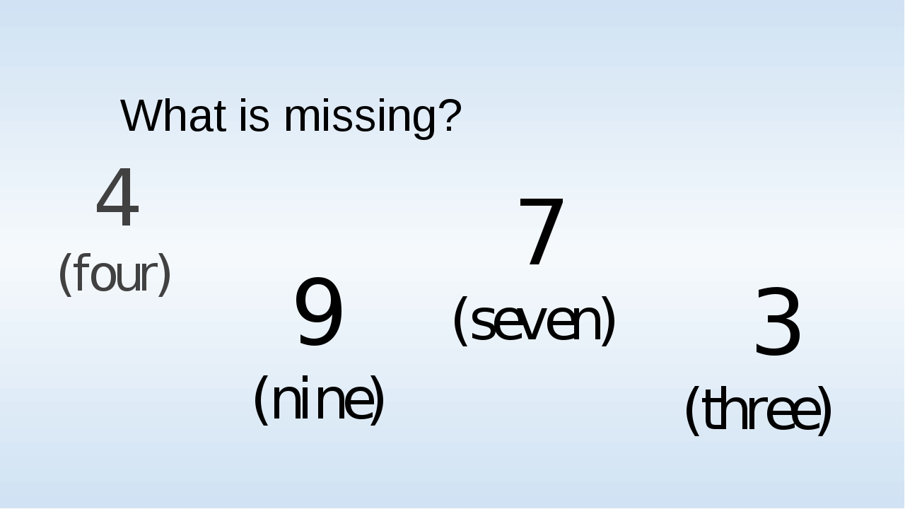 What is missing? 4 (four) 9 (nine) 7 (seven) 3 (three)