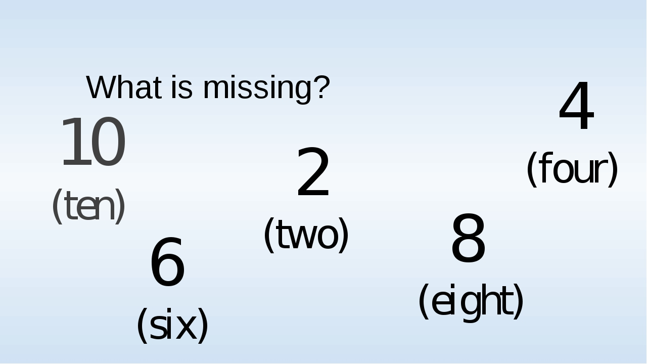 What is missing? 10 (ten) 6 (six) 2 (two) 8 (eight) 4 (four)