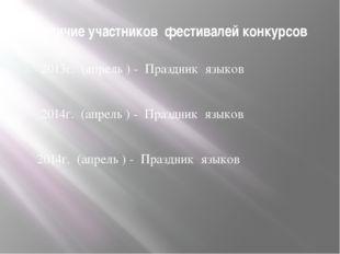 Наличие участников фестивалей конкурсов 2013г. (апрель ) - Праздник языков 20
