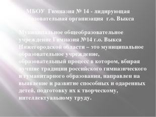 МБОУ Гимназия № 14 - лидирующая образовательная организация г.о. Выкса Муници