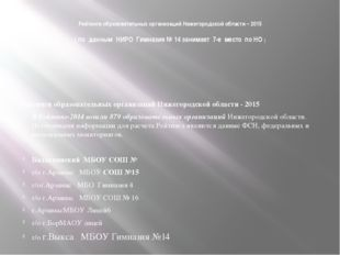 Рейтинги образовательных организаций Нижегородской области – 2015 ( по данным