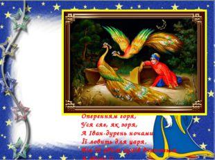 Оперенням горя, Уся сяє, як зоря, А Іван-дурень ночами Її ловить для царя. Ві