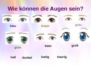 Wie können die Augen sein? blau braun grau grün klein groß hell dunkel lustig