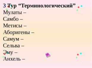 """3 Тур """"Терминологический"""" Мулаты – Самбо – Метисы – Аборигены – Самум – Сель"""