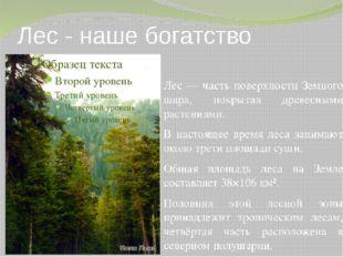 Лес - наше богатство Лес — часть поверхности Земного шара, покрытая древесным