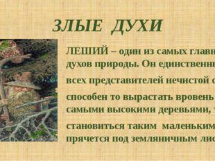ЗЛЫЕ ДУХИ ЛЕШИЙ – один из самых главных духов природы. Он единственный из все