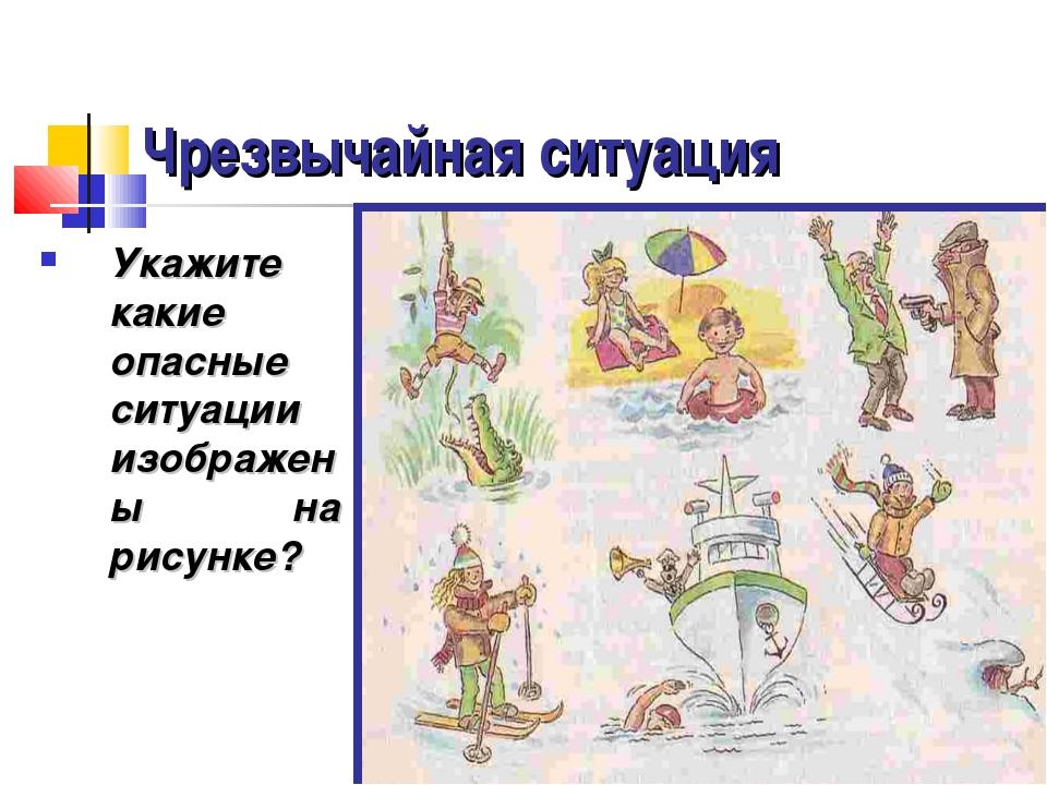 Чрезвычайная ситуация Укажите какие опасные ситуации изображены на рисунке?