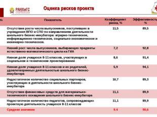 Оценка рисков проекта * № Показатель Коэффициент риска, %Эффективность, %