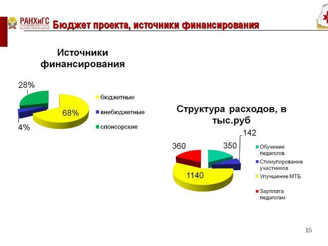 Бюджет проекта, источники финансирования *