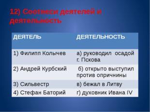 12) Соотнеси деятелей и деятельность ДЕЯТЕЛЬ ДЕЯТЕЛЬНОСТЬ 1) ФилиппКолычев а)