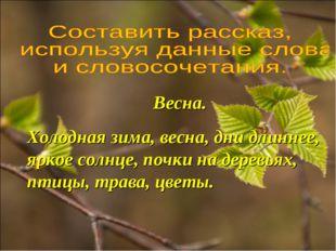 Весна. Холодная зима, весна, дни длиннее, яркое солнце, почки на деревьях, пт