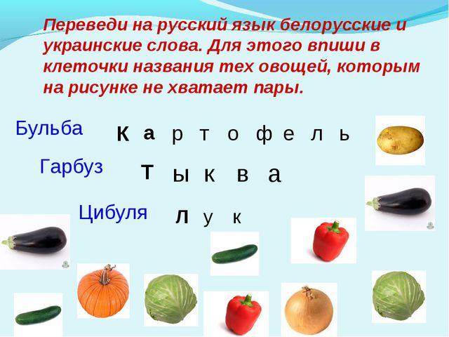 Переведи на русский язык белорусские и украинские слова. Для этого впиши в кл...