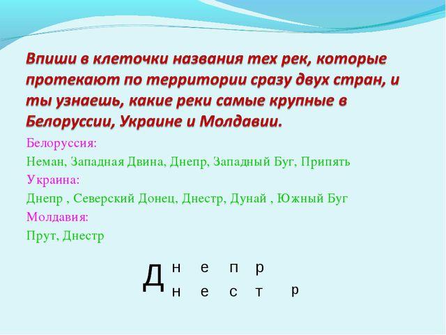 Белоруссия: Неман, Западная Двина, Днепр, Западный Буг, Припять Украина: Днеп...