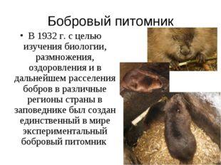 Бобровый питомник В 1932 г. с целью изучения биологии, размножения, оздоровле