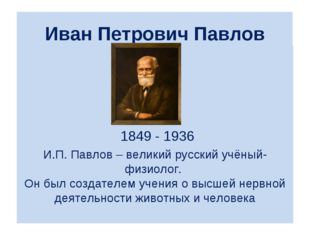 Иван Петрович Павлов  1849 - 1936 И.П. Павлов – великий русский учёный-физи