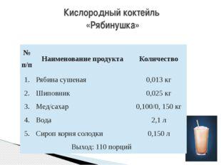 Кислородный коктейль «Рябинушка» №п/п Наименование продукта Количество 1. Ряб