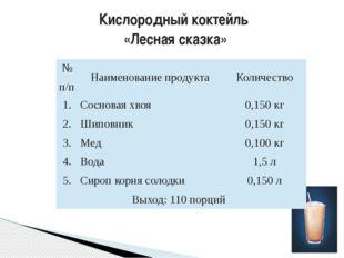 Кислородный коктейль «Лесная сказка» №п/п Наименование продукта Количество 1.