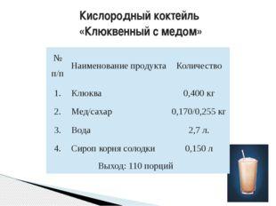 Кислородный коктейль «Клюквенный с медом» №п/п Наименование продукта Количест