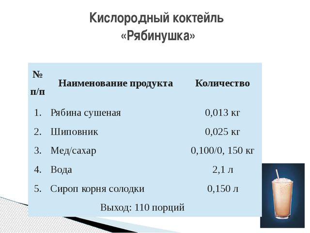 Кислородный коктейль «Рябинушка» №п/п Наименование продукта Количество 1. Ряб...