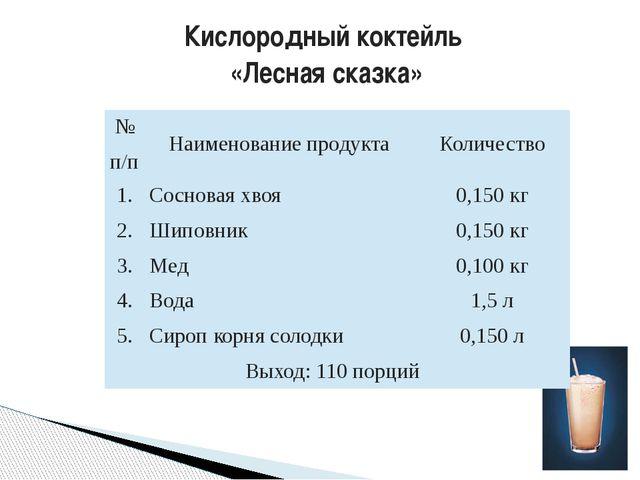 Кислородный коктейль «Лесная сказка» №п/п Наименование продукта Количество 1....