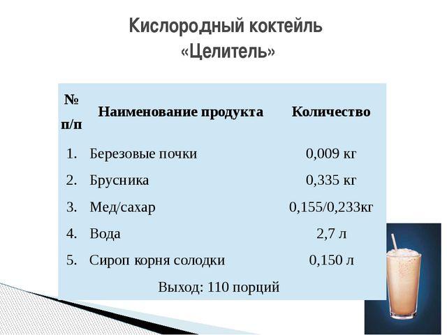 Кислородный коктейль «Целитель» №п/п Наименование продукта Количество 1. Бере...